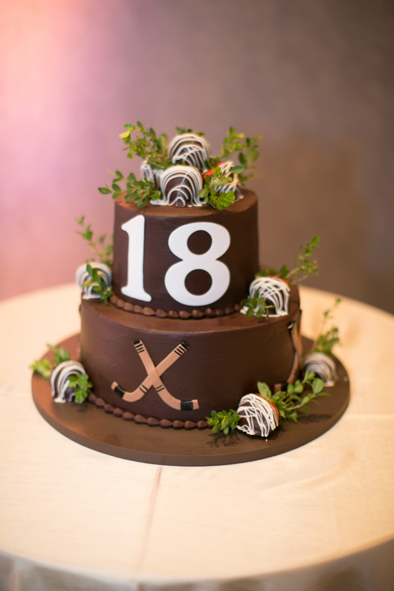 Chocolate Grooms Cake with Hockey Details