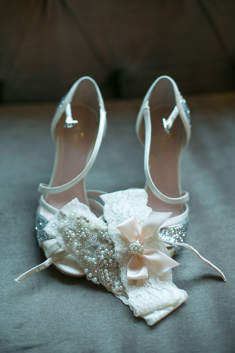 Glitter Kate Spade Bridal Shoes and Pearl Garters