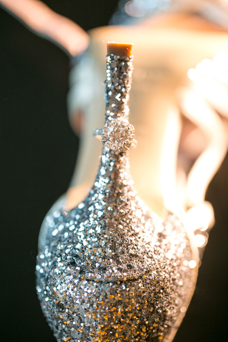 Glittery Kate Spade Bridal Shoes with Halo Engagement Ring