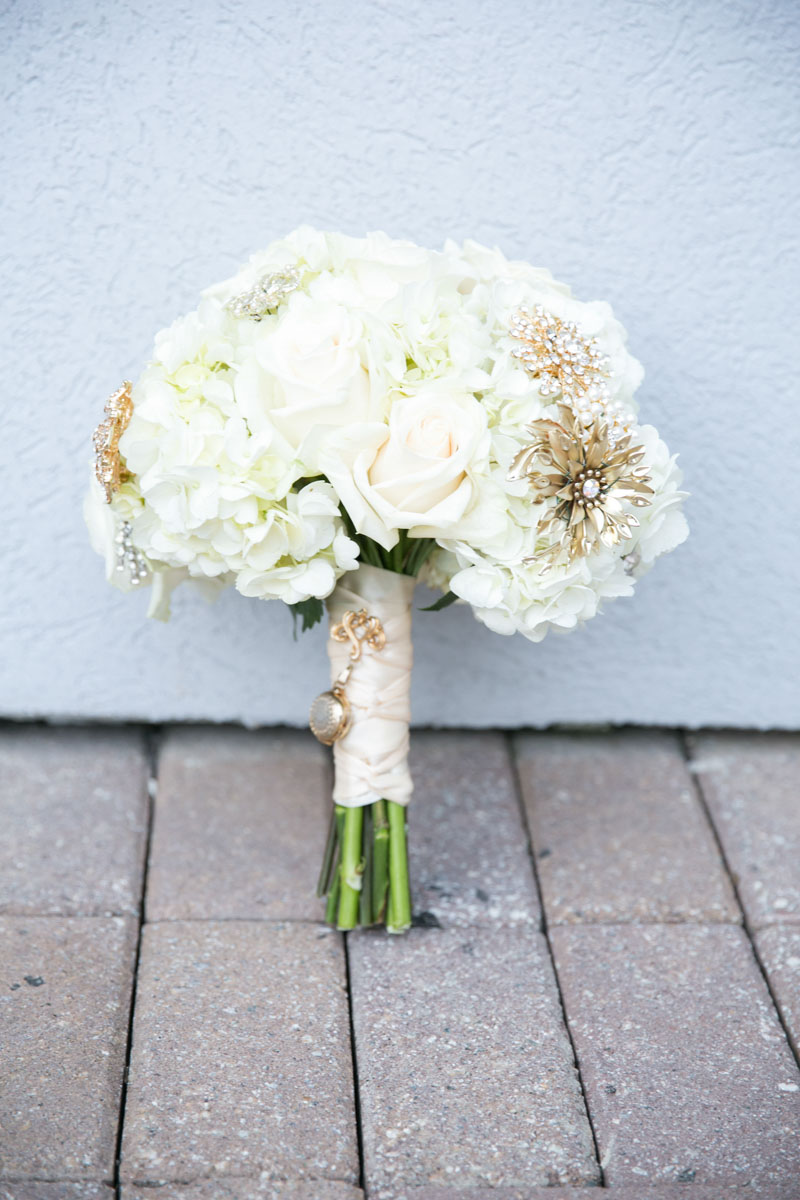 Hydragnea and Rose White Bouquet with Vintage Brooches