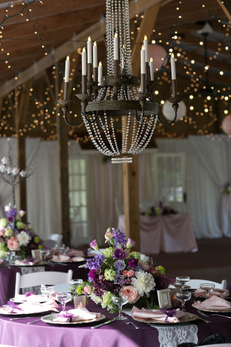 Chandelier at Cross Creek and reception table 4_1_16 Rocky and Evelyn Cross Creek Ranch Wedding 039