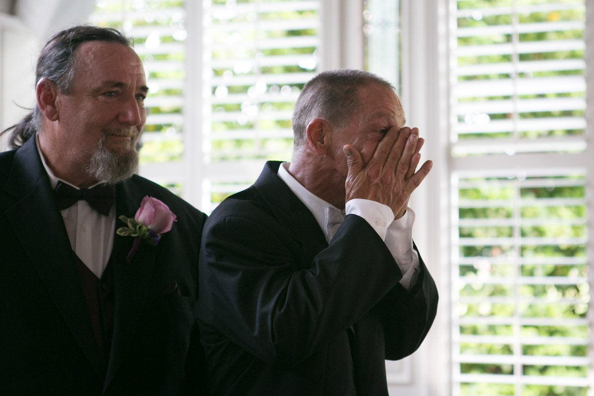 Groom becoming emotional at seeing his bride during ceremony4_1_16 Rocky and Evelyn Cross Creek Ranch Wedding 046