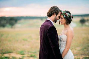 bride and groom maroon italian themed wedding